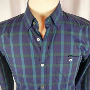 Ted Baker London Shirt Green/Blue Check Btn Dn Med